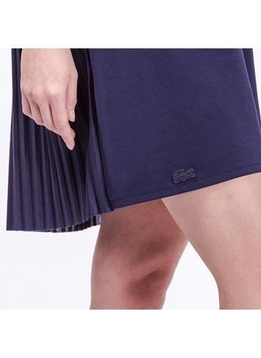 V Yaka Kısa Kollu Pileli Elbise-Lacoste